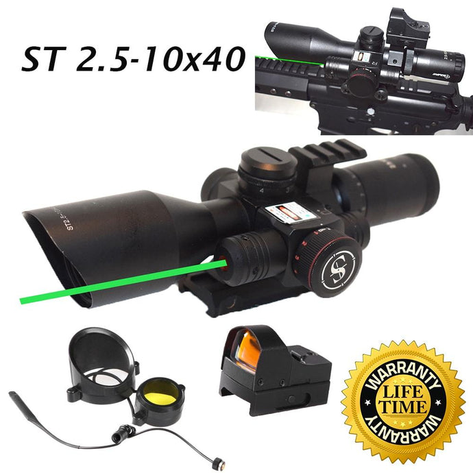 2.5-10x40 Tactical Rifle Scope Combo R/G Mil-dot illuminated Green Laser with Red Dot Sight