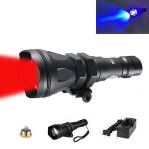 650 Yards Long Range Zoomable Hunting Flashlight Spotlight Kit, Green Red Blue White Infrared 850nm IR Interchangeable LED Modules, Predator Night Light Torch