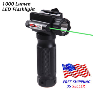 Sniper Tactical Vertical Foregrip - 1000 Lumen LED Flashlight Green Dot Sight - 20mm Rail Mount