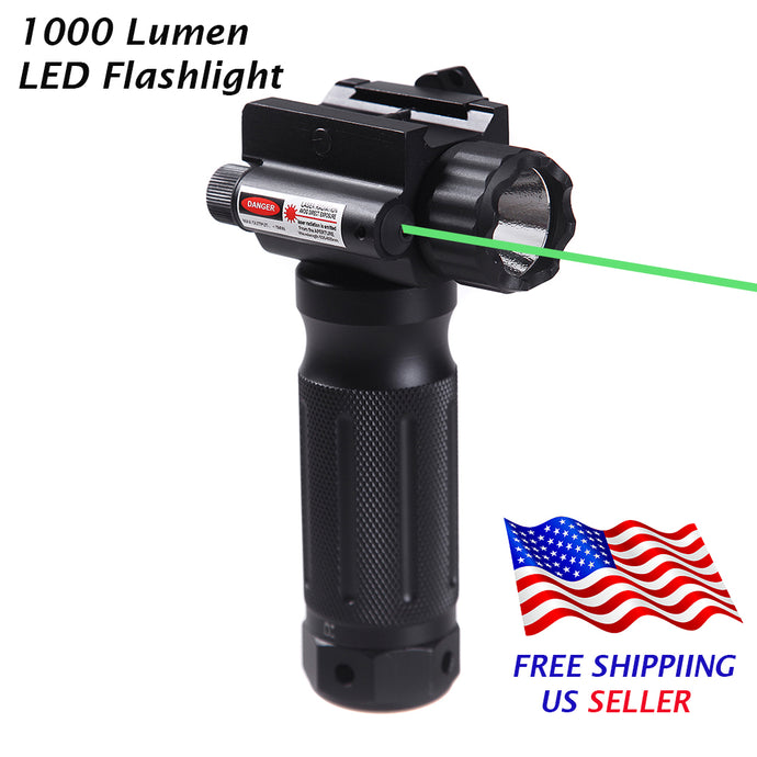 Sniper Tactical Vertical Foregrip - 1000 Lumen LED Flashlight Green Laser Sight - 20mm Rail Mount
