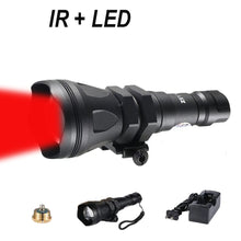 Load image into Gallery viewer, 650 Yards Long Range Zoomable Hunting Flashlight Spotlight Kit, Green Red Blue White Infrared 850nm IR Interchangeable LED Modules, Predator Night Light Torch