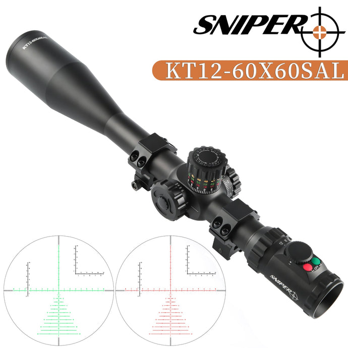 Sniper KT 12-60X60 SAL Rifle Scope 35mm Tube Side Parallax Adjustment Glass Etched Reticle Red Green Illuminated with Scope Rings
