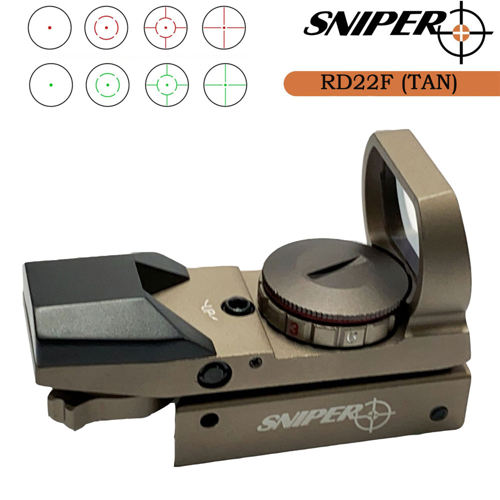 Sniper RD22F(TAN) Red Dot Red and Green Reflex Sight with 4 Reticles