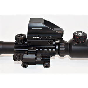 Sniper ST 4-12x50 Scope Combo includes Red Laser Sight LED Flashlight and Holographic Dot Sight