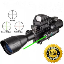 Load image into Gallery viewer, Sniper ST 4-16x50 Scope Combo includes Red Laser Sight LED Flashlight and Holographic Dot Sight