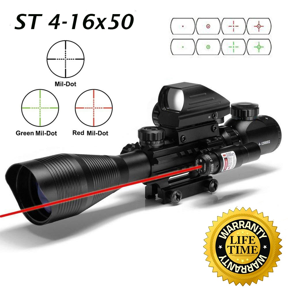 Sniper ST 4-16x50 Scope Combo includes Red Laser Sight LED Flashlight and Holographic Dot Sight