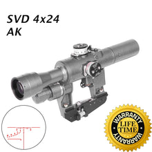 Load image into Gallery viewer, Sniper  SVD Dragunov 4x24mm Tactical Rifles cope with Red Illuminated Rangefinding Reticle