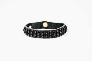 Leather Beaded Row Bracelet