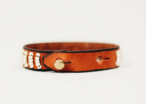 Simple Beaded Leather Bracelet