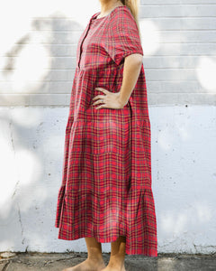 Emma Holiday Red Plaid Maxi Dress