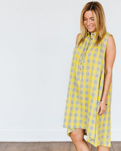 Green Grey Check Birdie Dress