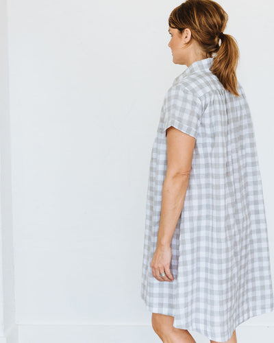 Grey Check Short Sleeve Birdie Dress