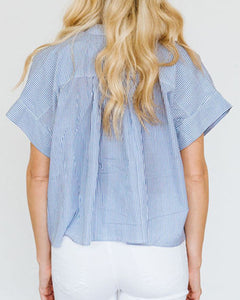 Oxford Stripe Blue Mae Top