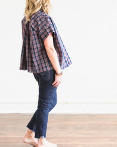Holiday Navy Plaid Mae Top