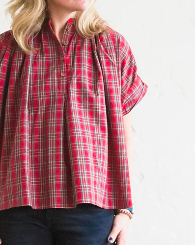 Holiday Red Plaid Mae Top PRE ORDER (SHIPS 12/5)