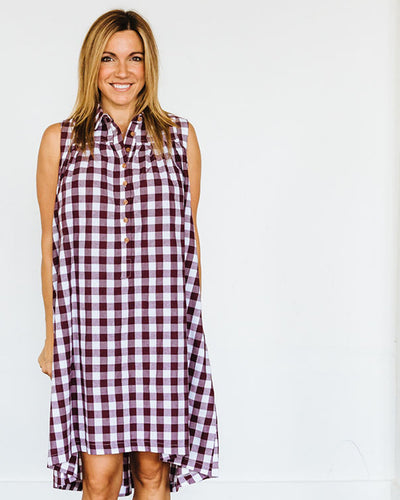 Maroon Check Birdie Dress