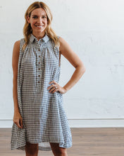 Load image into Gallery viewer, Navy Gingham Birdie Dress