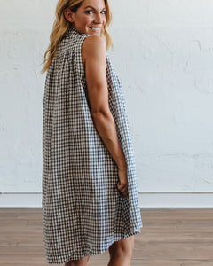 Navy Gingham Birdie Dress