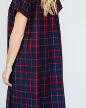 Load image into Gallery viewer, Navy Red Flannel Short Sleeve Birdie Dress