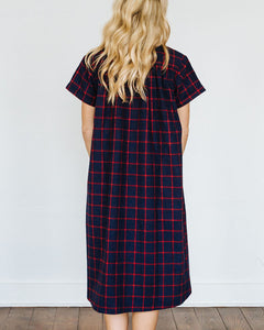 Navy Red Flannel Short Sleeve Birdie Dress
