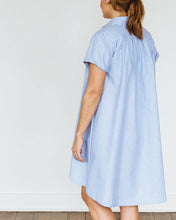 Load image into Gallery viewer, Blue Oxford Short Sleeve Birdie Dress