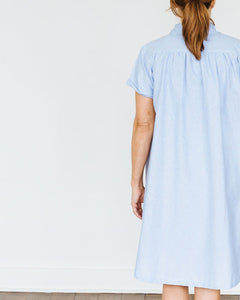 Blue Oxford Short Sleeve Birdie Dress
