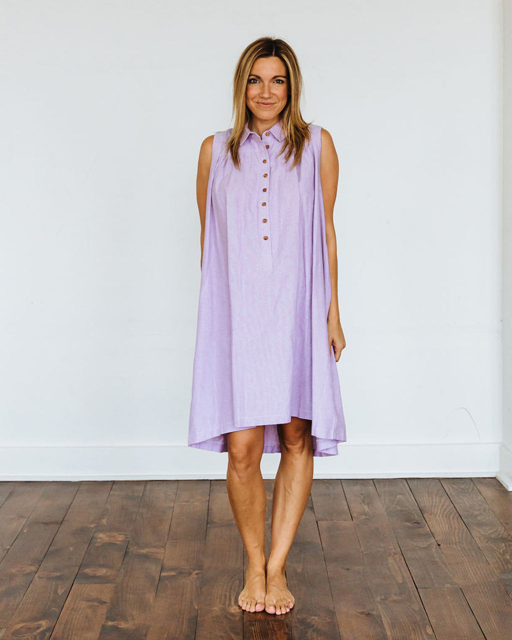 Purple Oxford Birdie Dress