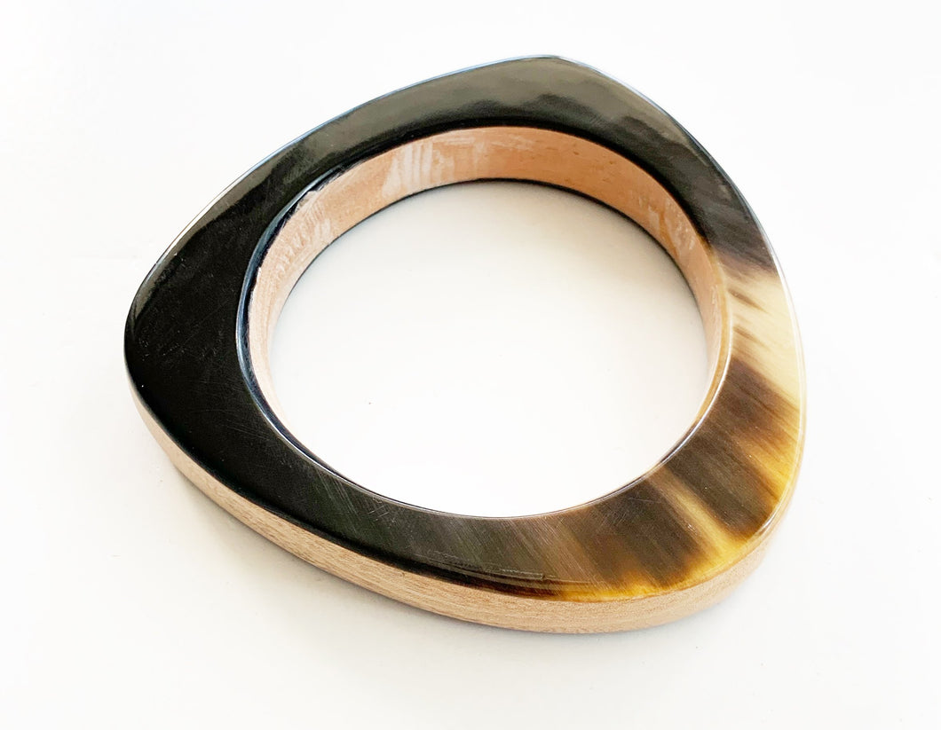 Triangle Wood + Horn Bangle
