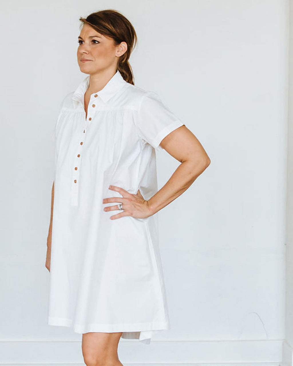 White Short Sleeve Birdie Dress
