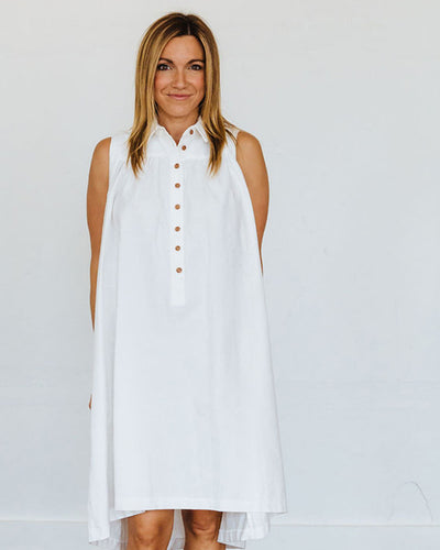 Winter White Oxford Birdie Dress
