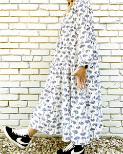 Zoe Indigo Blooms Maxi Dress