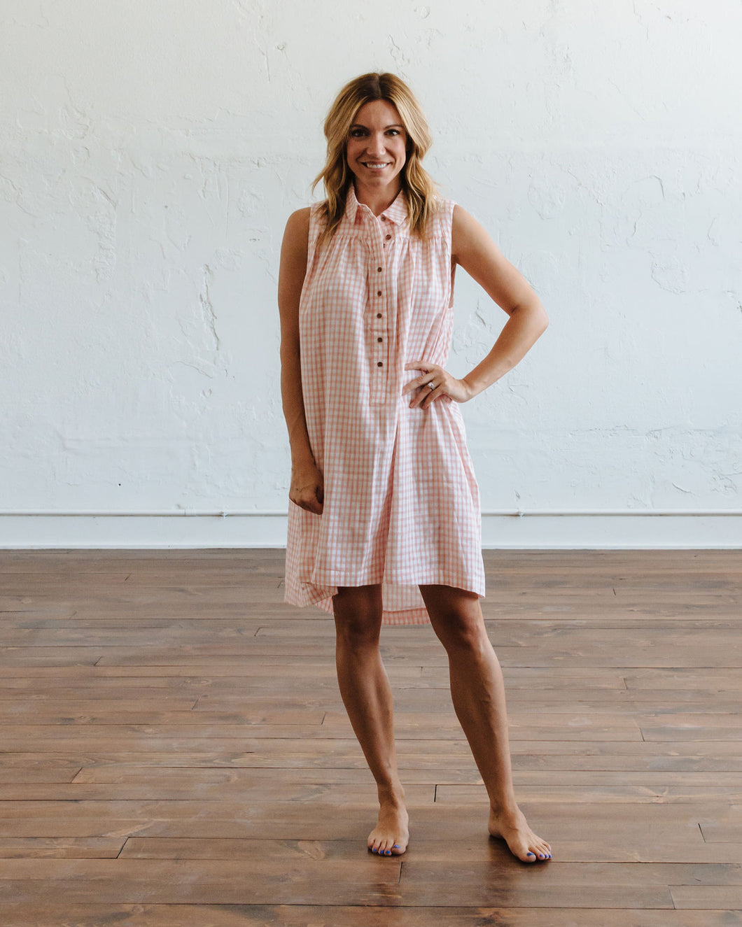 Coral Gingham Birdie Dress