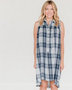 Dark Blue Plaid Birdie Dress