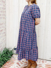 Load image into Gallery viewer, Holiday Navy Plaid Maxi Dress