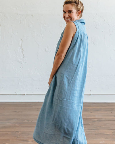 Blue Stripe Birdie Maxi Dress