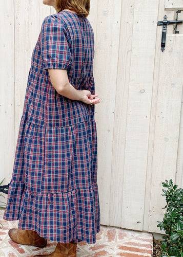 Holiday Navy Plaid Maxi Dress