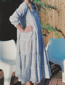 Zoe Blue Waves Maxi Dress