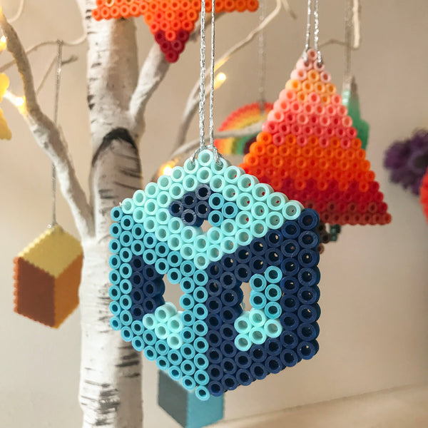 Blue Hollow Cube Hanging Decoration