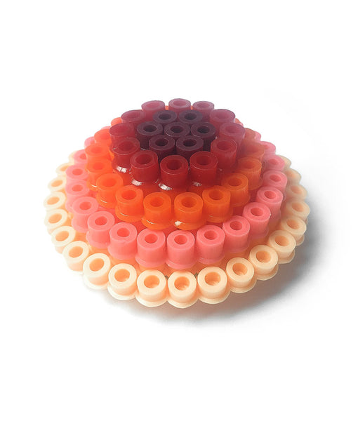 Coral Circles Statement Brooch - in shades of coral, orange and pink.