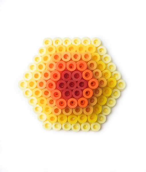 Yellow Hexagon Statement Brooch - in shades of lemon, yellow and orange.