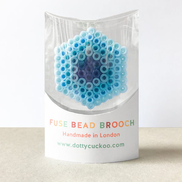 Blue Hexagon Statement Brooch - in shades of blue.