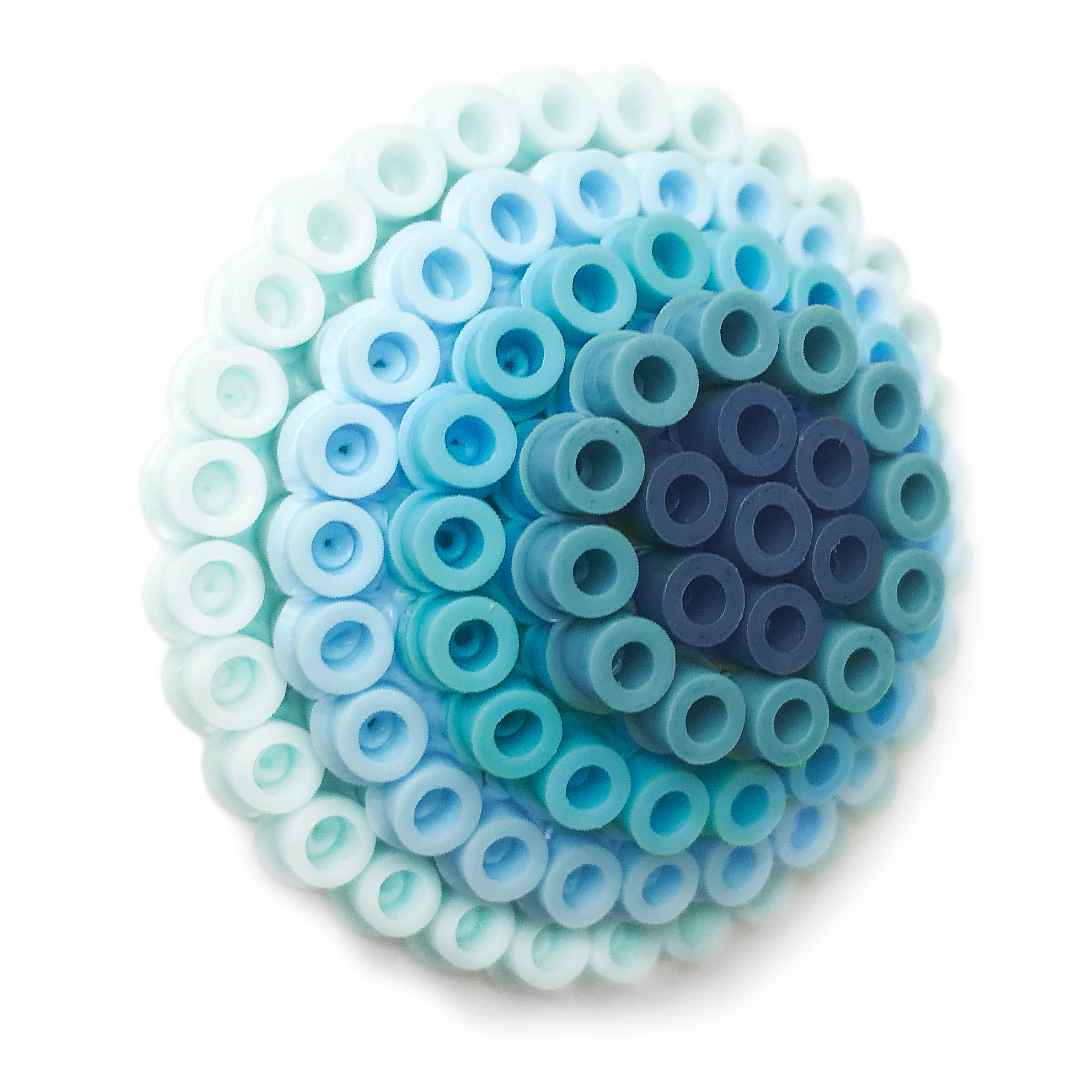 Blue Circles Statement Brooch - in shades of blue.