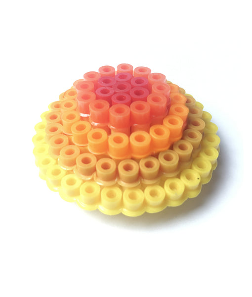 Yellow Circles Statement Brooch - in shades of yellow and orange.