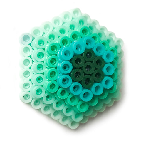 Mint Hexagon Statement Brooch - in shades of mint, turquoise and teal.