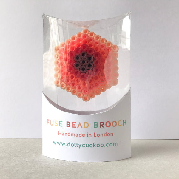 Coral Hexagon Statement Brooch - in shades of coral, orange and pink.