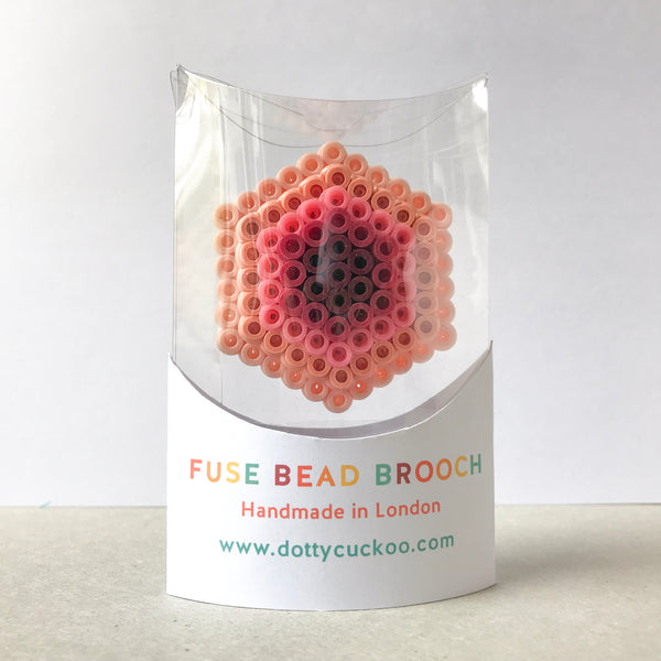 Rose Hexagon Statement Brooch - in subtle shades of rose pink.