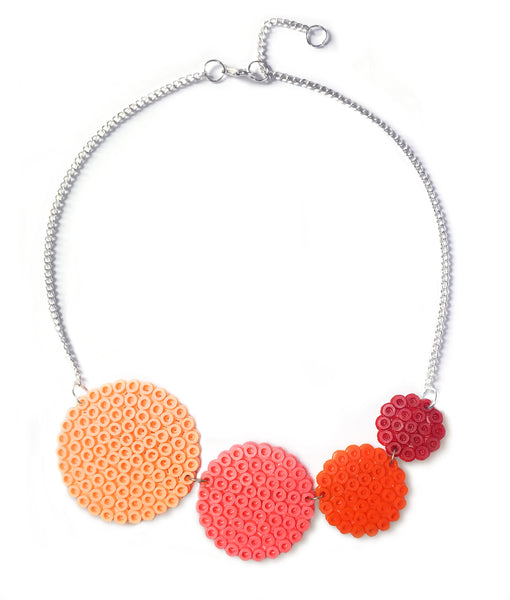 Coral Circles Necklace - in subtle shades of coral and apricot.