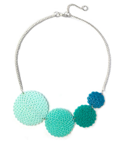 Mint Circles Necklace - in light to dark shades of mint.
