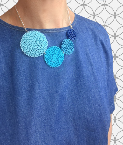 Blue Circle Fuse Bead Kit - Necklace and Brooch