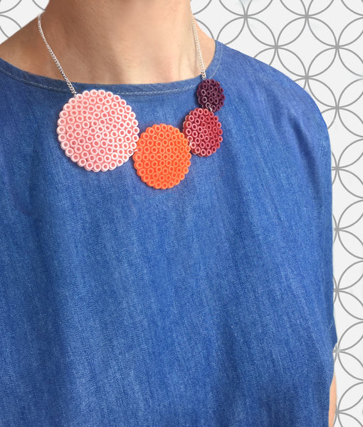 Muted Orange Circle Fuse Bead Kit - Necklace and Brooch